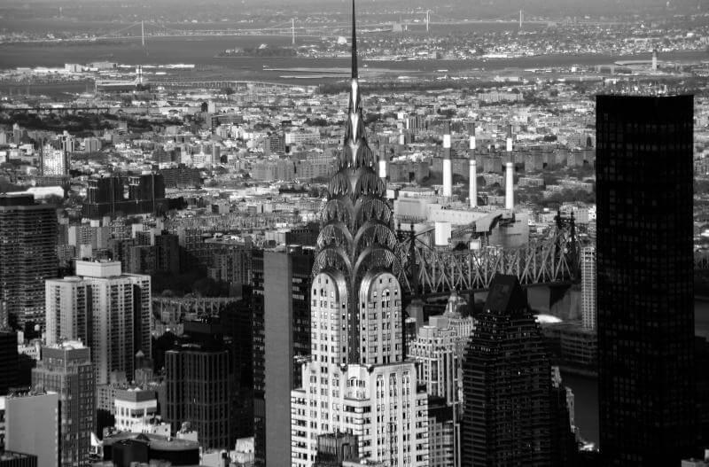 Vista aerea di New York e del Chrysler Building